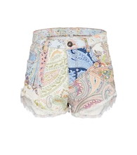 Paisley denim high-rise shorts