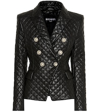 Quilted leather blazer