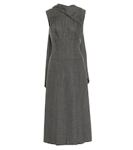 Wool-blend flannel midi dress