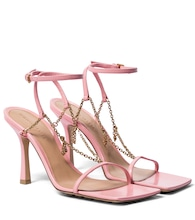 Stretch chain-trimmed leather sandals