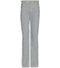 Rivet-embellished striped cotton trousers