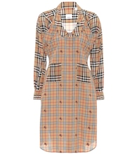 Checked silk shirt dress
