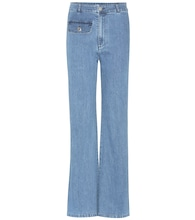 Flared stretch-cotton jeans
