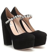 Suede Mary Jane platform pumps