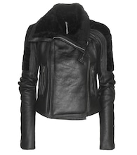 Biker shearling and leather jacket