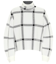 Checked funnel-neck sweater