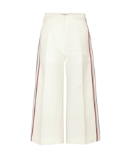 Striped cotton and silk culottes