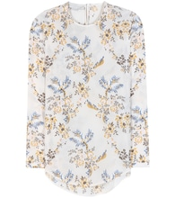 Printed floral silk blouse