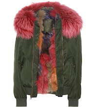 Fur-trimmed bomber jacket