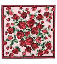 Rose-printed silk scarf