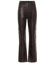 High-rise leather straight pants