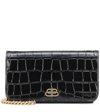 BB croc-effect leather clutch