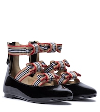Icon Stripe patent leather ballet flats