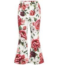Floral-printed stretch cotton pants