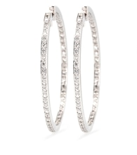Créoles en or blanc 18cts et diamants blancs
