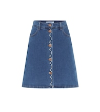 High-rise stretch-denim miniskirt