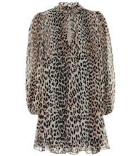 Leopard-print georgette minidress