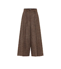 Checked mid-rise cropped wool pants