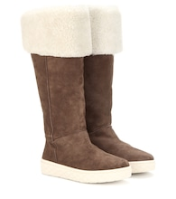 Christiane suede and shearling knee boots