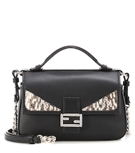 Double Micro Baguette snakeskin-embellished leather shoulder bag