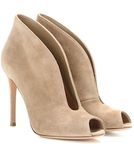 Vamp suede peep-toe ankle boots