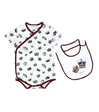 Baby printed cotton playsuit and bib set
