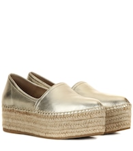 Metallic leather platform espadrilles