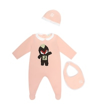 Baby cotton bib, hat and onesie set
