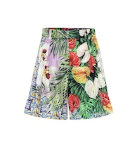 Floral-printed silk shorts
