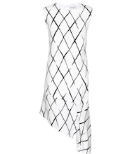 Graphic Net Frill crepe dress