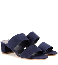 40mm Double Strap suede sandals