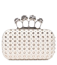 Four Ring embellished suede clutch