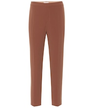 Mid-rise straight crêpe pants