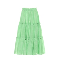 Ruffled linen midi skirt
