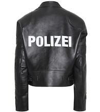 Appliqué leather jacket