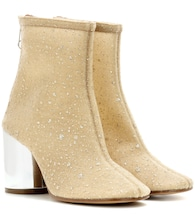 Glitter-embellished ankle boots