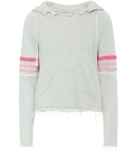 Distressed cotton-blend hoodie
