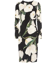Floral-printed wool-crêpe dress