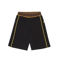 Logo intarsia cotton shorts