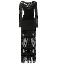 Fringed velvet gown