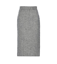 Embellished wool tweed pencil skirt