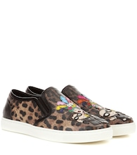 Leopard-printed slip-on sneakers