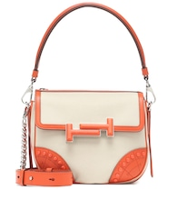 Double T leather-trimmed shoulder bag