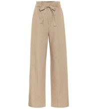 Wide-leg linen-blend paperbag pants