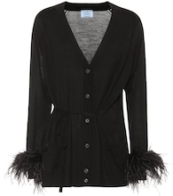 Feather-trimmed wool cardigan