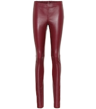 Mid-rise leather leggings