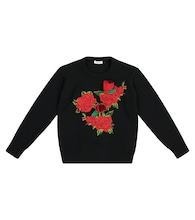 Floral appliqué wool sweater