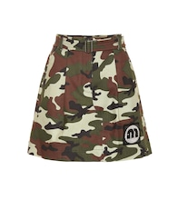 Camouflage stretch-cotton skirt