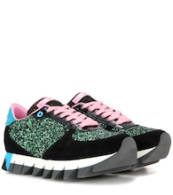 Glitter, suede and patent leather sneakers