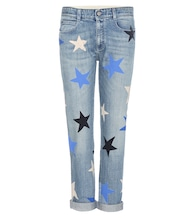 Cropped printed jeans